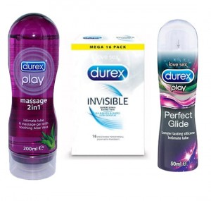 Zestaw Durex Invisible 16 szt.+ żel Durex Play Perfect Glide 50 ml + żel Durex Play 2in1 Aloe Vera 200 ml